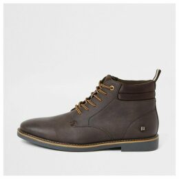 Mens River Island Dark Brown lace-up chukka boots