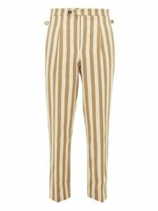 King & Tuckfield - Striped Cotton Trousers - Mens - White Multi