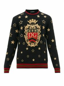 Dolce & Gabbana - Star Embroidered Cashmere Blend Sweater - Mens - Black Multi