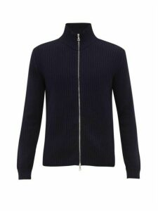 Officine Générale - Zip Through Ribbed Merino Wool Sweater - Mens - Navy