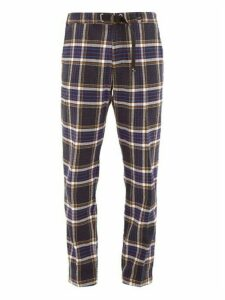 White Sand - Buckled Checked Cotton Blend Trousers - Mens - Black Multi