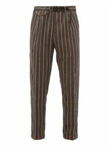 White Sand - Striped Cotton Blend Seersucker Trousers - Mens - Brown Multi