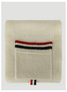 Thom Browne Shetland Wool Scarf in White size One Size