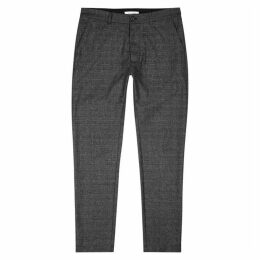 Samsøe & Samsøe Andy X Grey Checked Wool-blend Trousers
