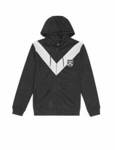 Mens Black And Grey Chevron Colour Block Zip Through Hoodie, Black