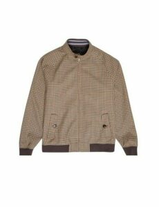 Mens Brown Funnel Neck Mini Check Harrington Jacket, CHOCOLATE