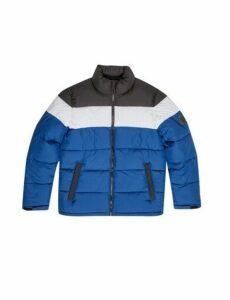 Mens Blue Trio Block Puffer Jacket, Blue