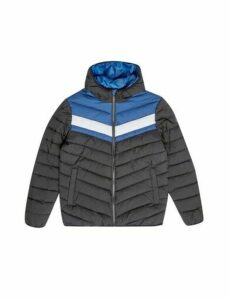 Mens Blue Colour Block Lightweight Puffer Jacket, Blue