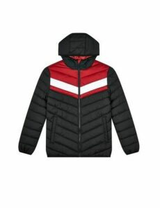 Mens Red Colour Block Lightweight Puffer Jacket, RED