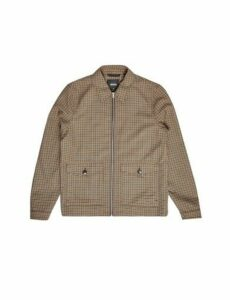 Mens Brown Fall Collar Mini Check Harrington Jacket, CHOCOLATE