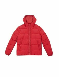 Mens Red Midweight Hooded Puffer Jacket, RED