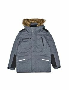 Mens Charcoal Contrast Panel Faux Fur-Trimmed Hooded Parka, CHARCOAL