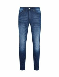 Mens Organic Dark Blue Tyler Skinny Fit Scratch Jeans, Blue