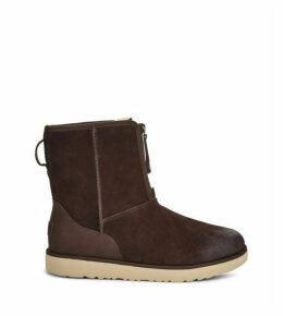 UGG Men's Classic Short Front Zip Waterproof Boot in Stout, Size 7, Leather