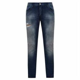 Emporio Armani Embellished Logo Slim Jeans