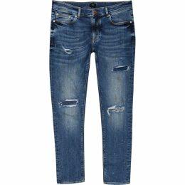 Mens River Island Mid Blue ripped Sid skinny jeans