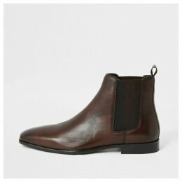 Mens River Island Brown leather Chelsea boots