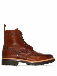 Grenson Fred hand-printed leather ankle boots - Brown