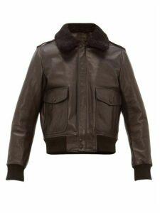 Ami - Shearling Collar Leather Jacket - Mens - Black