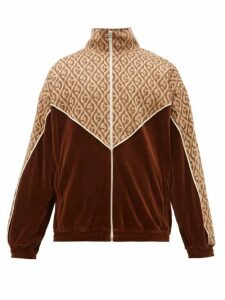 Gucci - Logo-jacquard Satin And Velour Track Jacket - Mens - Brown Multi