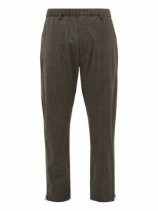 Prada - Zipped Seam Checked Wool Blend Track Pants - Mens - Multi