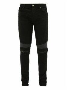 Amiri - Mx2 Skinny Leg Leather Panel Jeans - Mens - Black