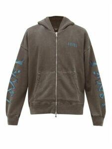 Amiri - Bones-print Zip-through Cotton Hooded Sweatshirt - Mens - Black Blue