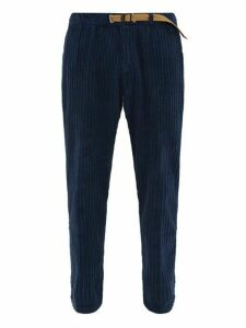 White Sand - Belted Cotton Chenille Trousers - Mens - Navy