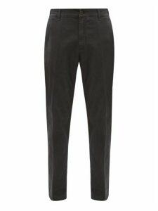 White Sand - Stretch Cotton Slim Leg Chino Trousers - Mens - Navy