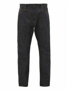 7 Moncler Fragment - Lightning Bolt Embroidered Logo Print Jeans - Mens - Indigo