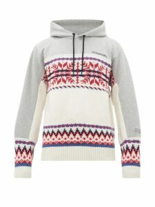 7 Moncler Fragment - Intarsia Wool Blend And Jersey Hooded Sweatshirt - Mens - White Multi