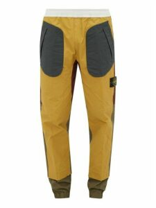 Stone Island - Colour Block Technical Coated Cotton Track Pants - Mens - Yellow Multi