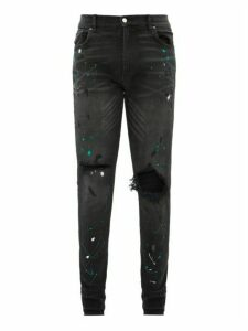 Amiri - Paint Splattered Distressed Skinny Leg Jeans - Mens - Black