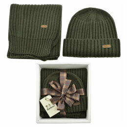 Barbour Ribbed Knit Scarf And Hat Gift Set Green