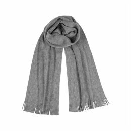 BOSS Albas Grey Mélange Wool Scarf