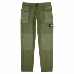 Stone Island Army Green Cotton Cargo Trousers