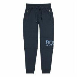 BOSS Navy Logo Jersey Sweatpants