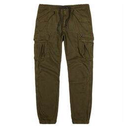 True Religion Olive Cotton Twill Cargo Trousers