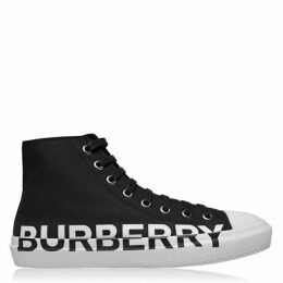 Burberry Logo Print Two Tone Leather High Top Sneakers
