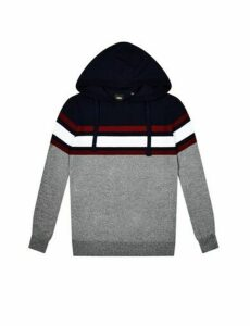 Mens Grey Chest Stripe Knitted Hoodie, GREY