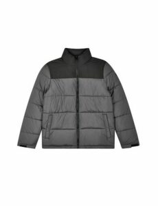Mens Charcoal Colourblock Puffer Jacket, CHARCOAL