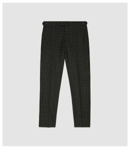 Reiss Livesey - Checked Slim Fit Trousers in Black/brown, Mens, Size 38