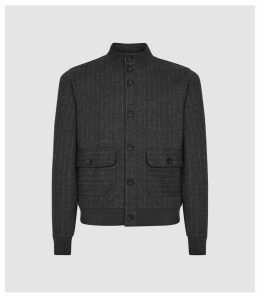 Reiss Chester - Cotton Blend Pinstriped Bomber Jacket in Charcoal, Mens, Size XXL