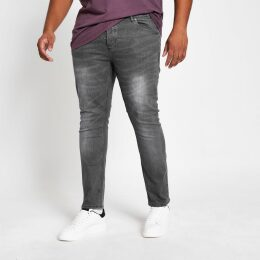 Mens River Island Big and Tall Grey Sid skinny jeans