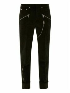 Neil Barrett - Zipped Pocket Cotton Blend Corduroy Trousers - Mens - Black