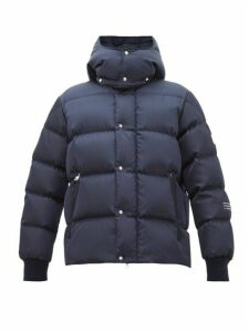 7 Moncler Fragment - Logo-print Down-quilted Hooded Jacket - Mens - Navy