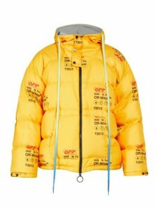 Off-white - Logo Print Quilted Down Jacket - Mens - Yellow