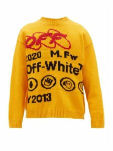 Off-white - Logo Intarsia Sweater - Mens - Yellow