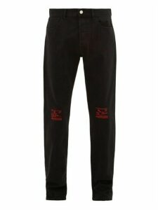 Raf Simons - Embroidered Knee Straight Leg Jeans - Mens - Black