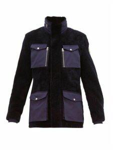 Schott - Flap Pocket Shearling Field Jacket - Mens - Navy